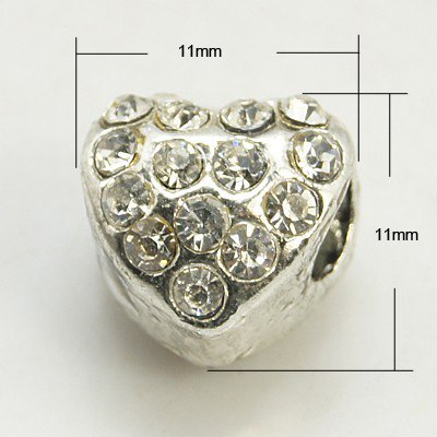 CUORE STRASS CRYSTAL FORO LARGO COLORE NIKEL MM 11
