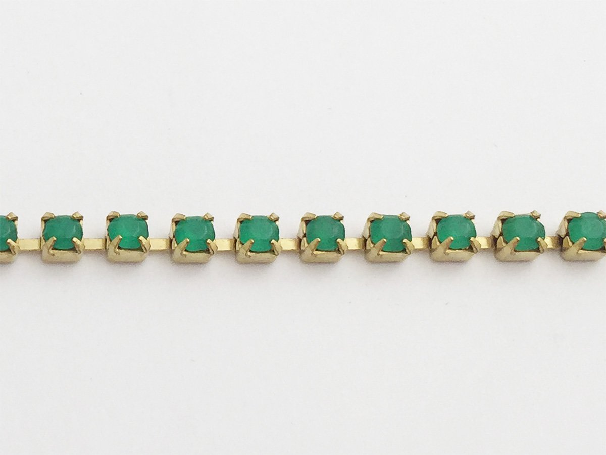 CATENA STRASS ORO PALACE GREEN OPAL SS12