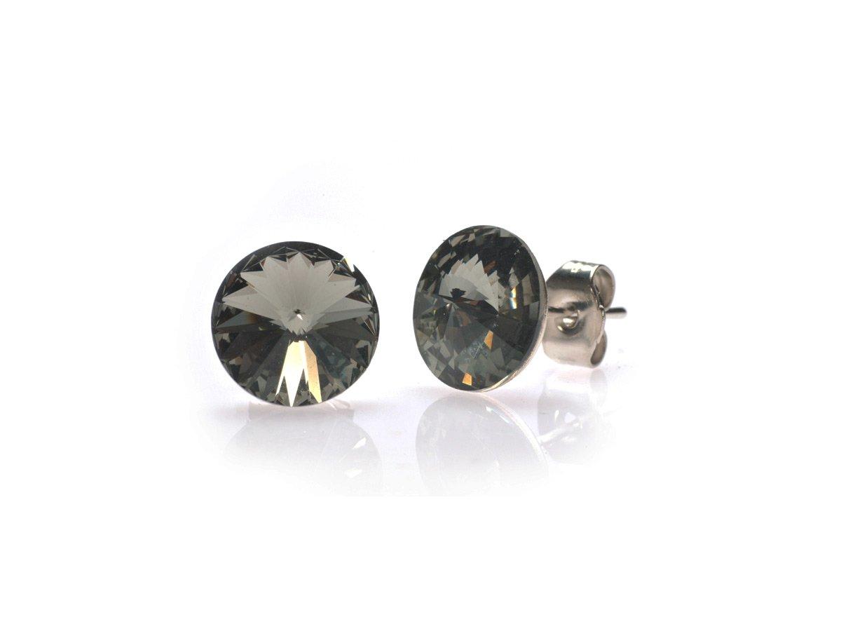 ORECCHINI A PERNO SWAROVSKI COLORE BLACK DIAMOND MM 8