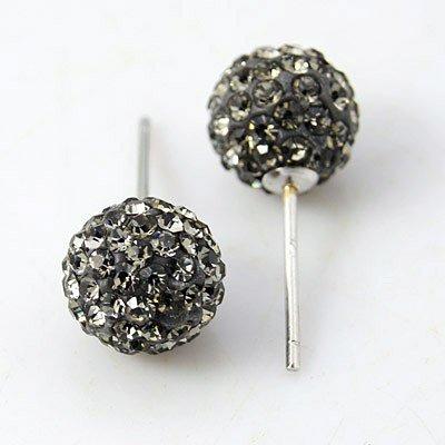 ORECCHINI IN ARGENTO 925 CON PALLA STRASS MM 8 COLORE BLACK DIAMOND