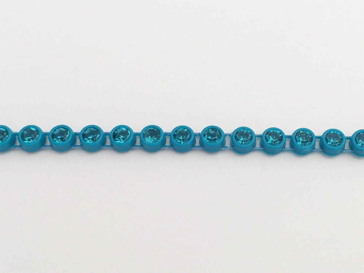 CATENA STRASS PRECIOSA IN PLASTICA BLUE ZIRCON E STRASS INDICOLITE SS13