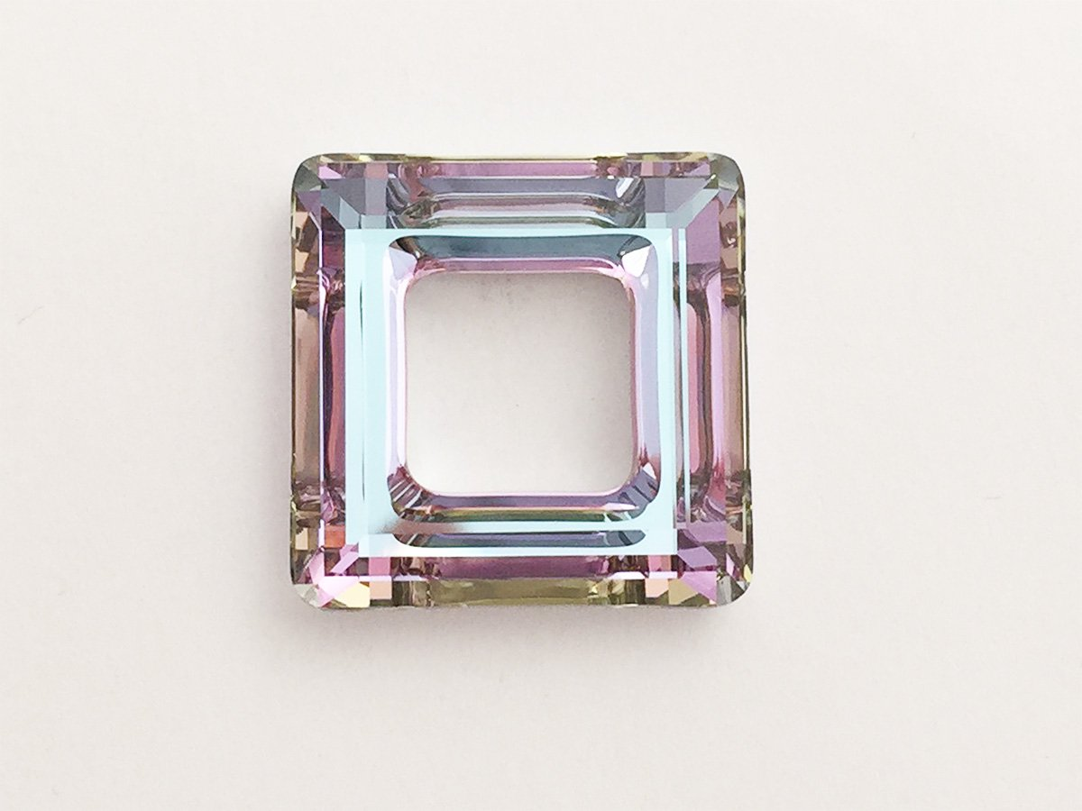 SQUARE RING 4439 SWAROVSKI CRYSTAL VITRAIL LIGHT 20 MM