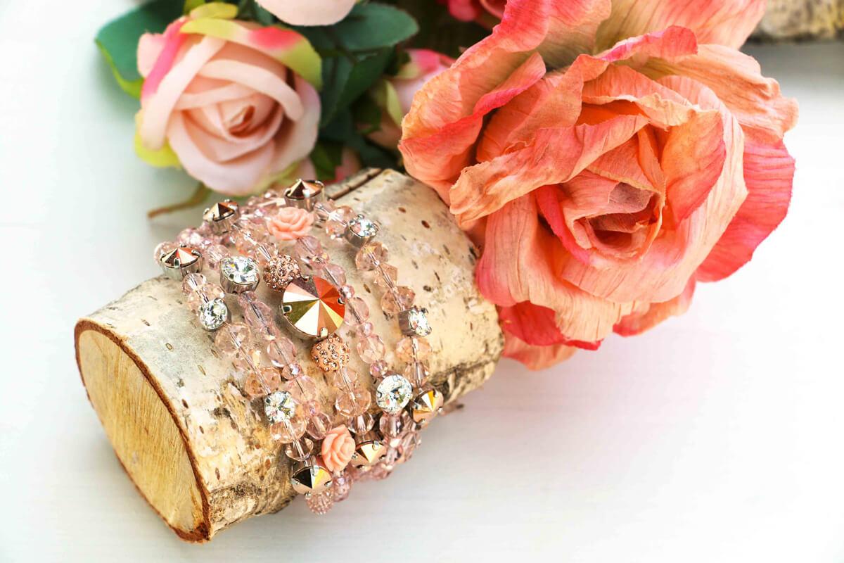 """Bracciale a 5 fili """"ATENE"""" con Cristalli Swarovski colore Rose Gold"""