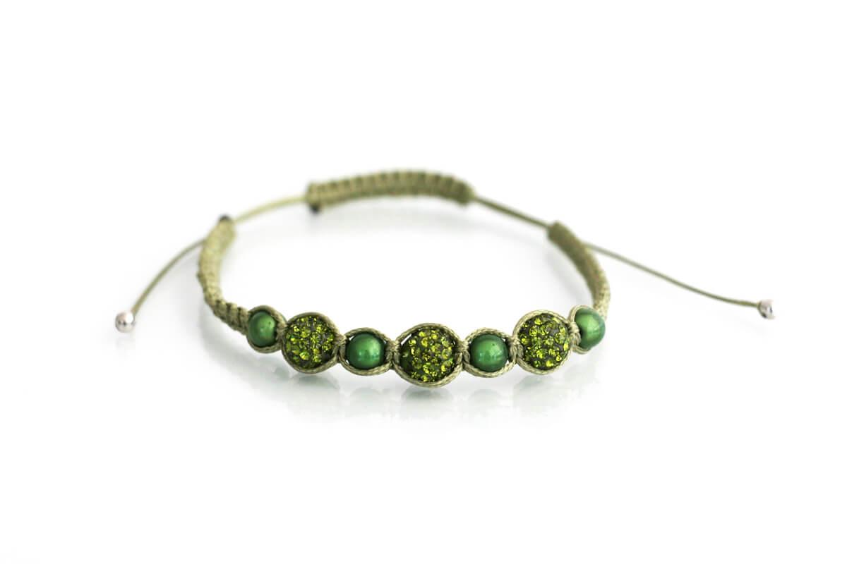 """Bracciale """"OLIMPIA"""" con Strass Ball e perle colore verde Olivine"""
