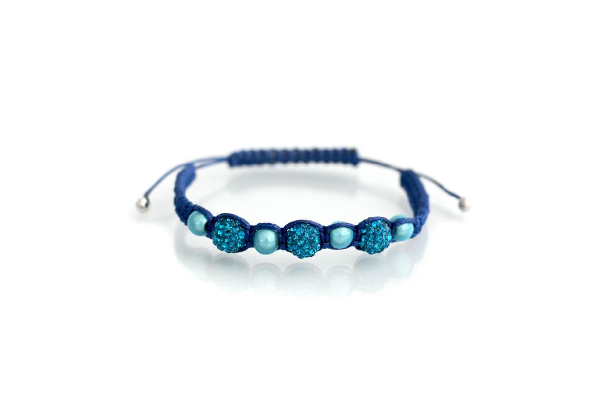"""Bracciale """"OLIMPIA"""" colore Blu con Strass Ball e perle colore Aquamarine"""