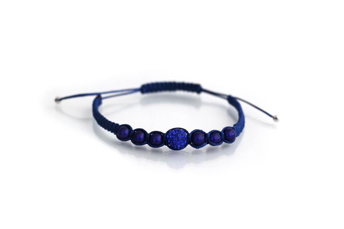 """Bracciale """"SPARTA"""" colore Blu Baltico con Strass Ball e perle colore Sapphire"""