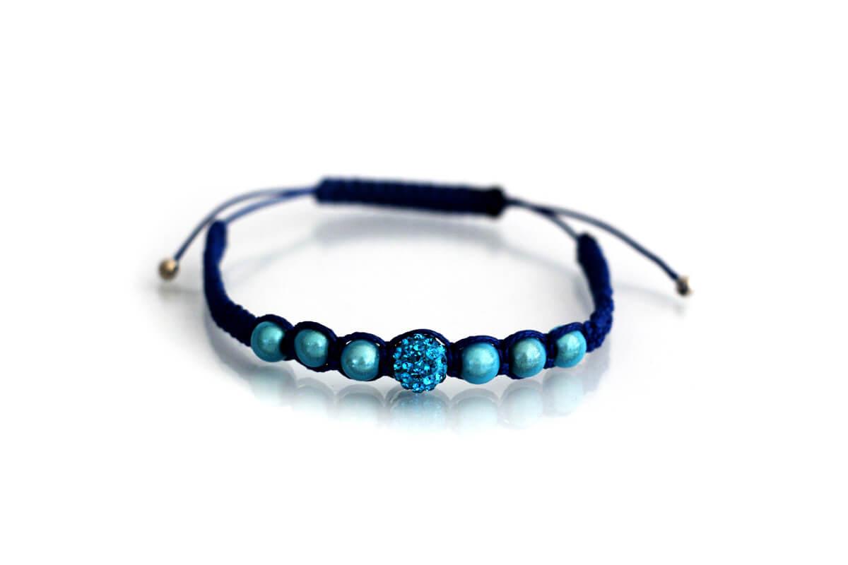 """Bracciale """"SPARTA"""" colore Blu con Strass Ball e perle colore Aquamarine"""