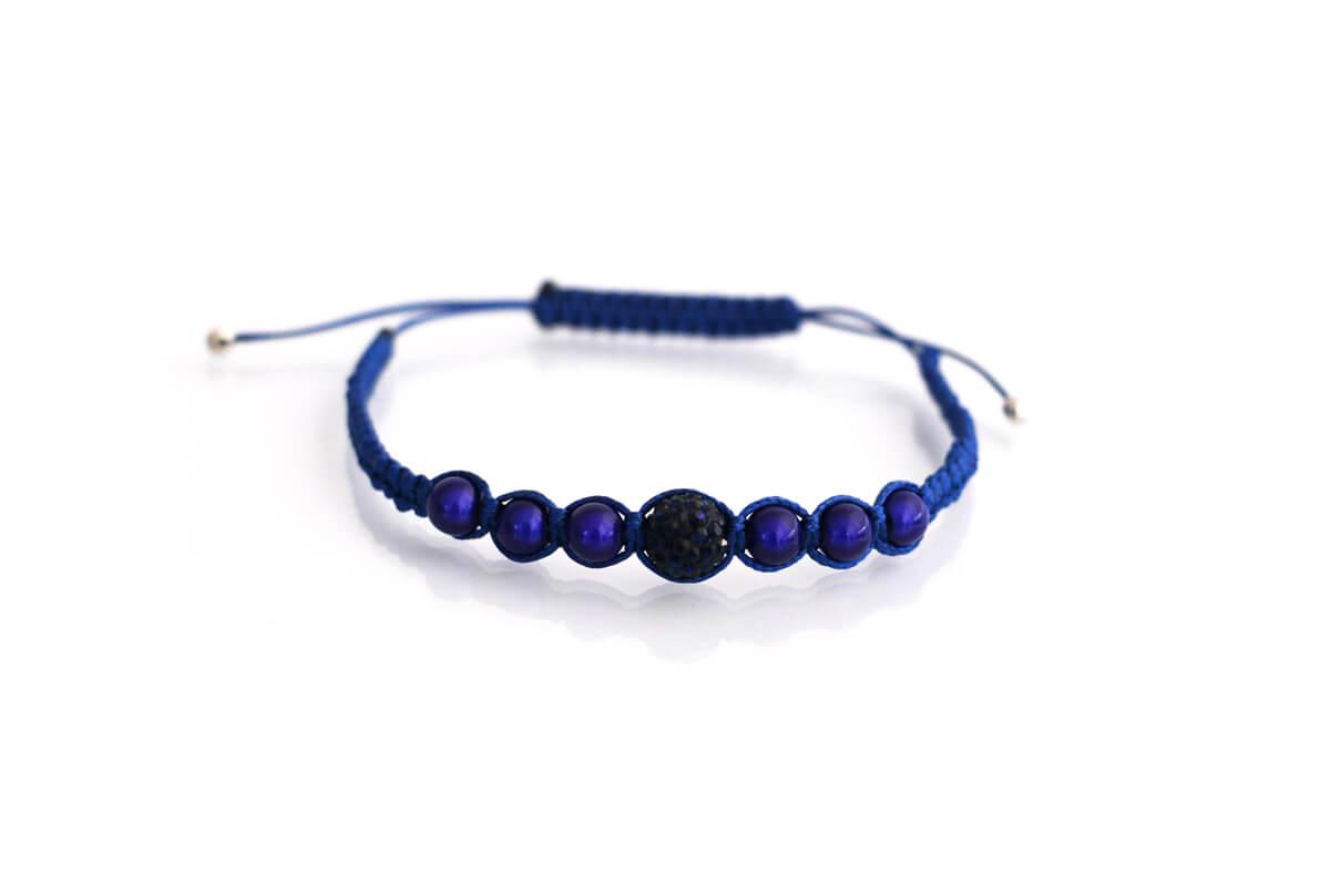 """Bracciale """"SPARTA"""" colore Blu con Strass Ball e perle colore Montana"""