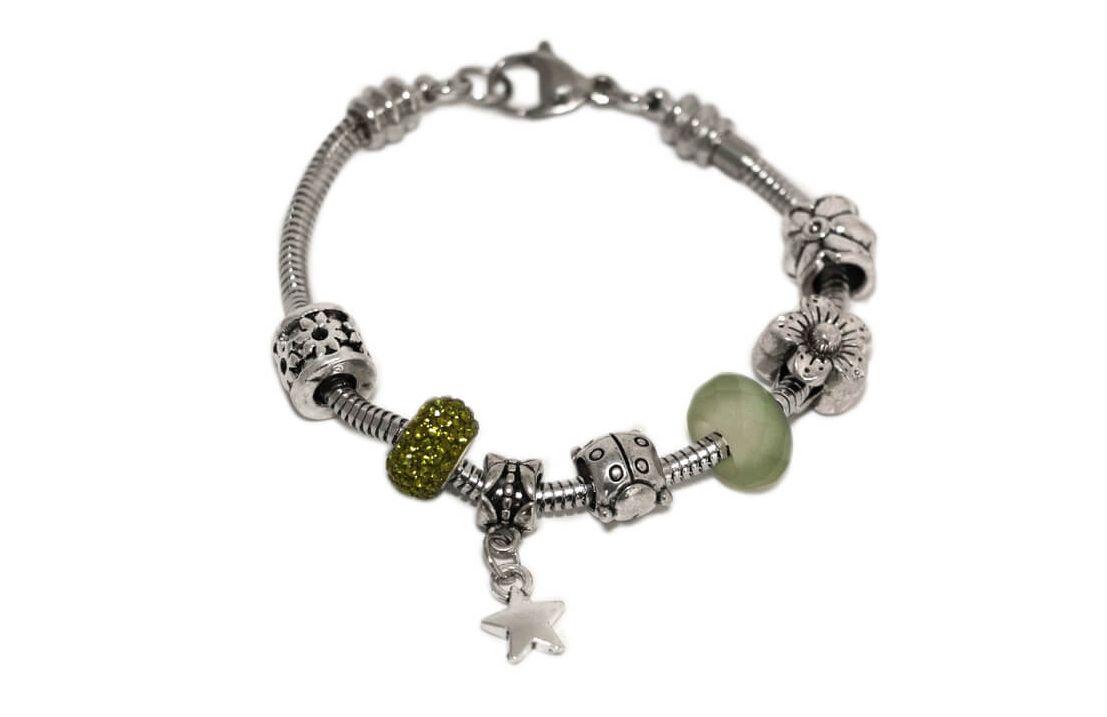 """Bracciale tipo """"PANDORA"""" con Charms colore Nichel, Perle e Pandorina strass colore Verde Olivine"""