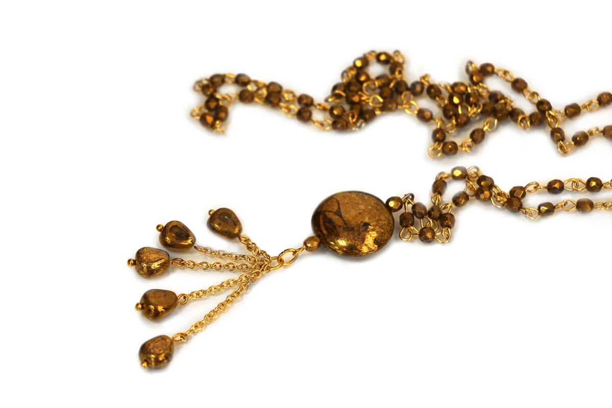 Collana catena Rosario colore Bronzo con Pendente con Perle in Vetro colore Oro