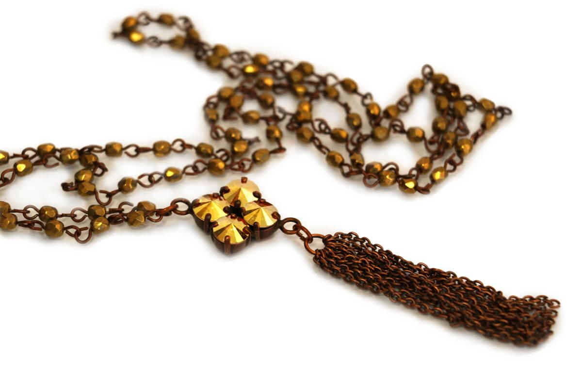 Collana catena Rosario colore Bronzo con Pendente rombo con Cristalli Swarovski colore Metallic Sunshine