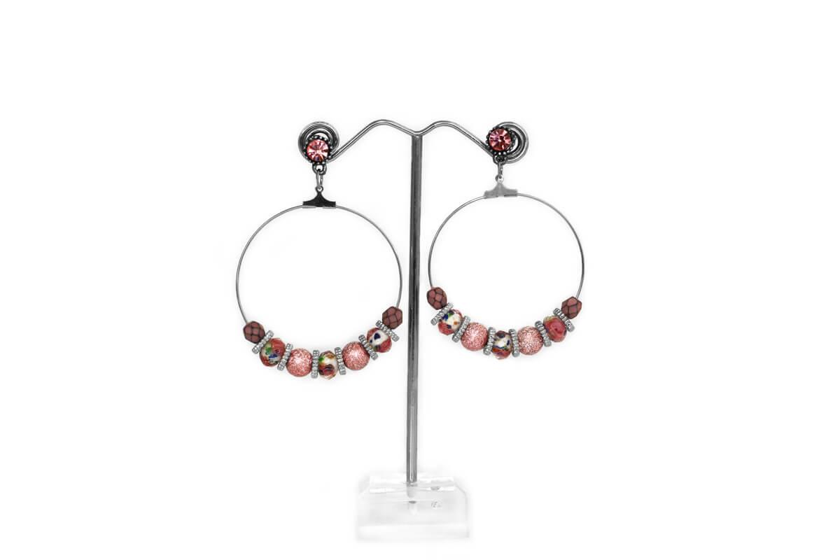"""Orecchini """"CIRCLE"""" colore Nikel con Perle e Cristalli Rosa Antico"""