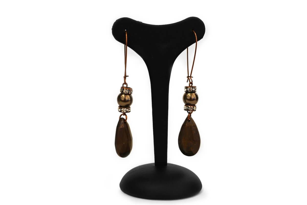 """Orecchini pendenti """"GIOIELLO"""" con Perle Swarovski, Rondelle Strass e Perle Plexi colore Black Diamond"""