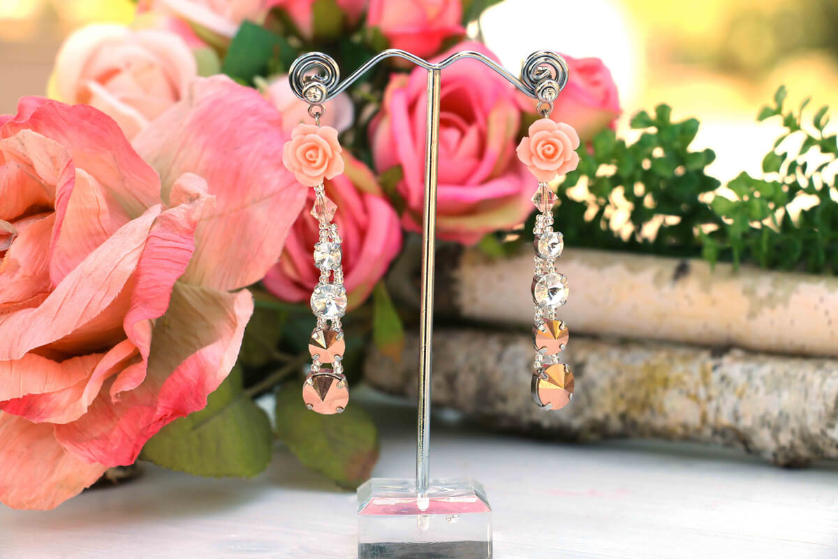 """Orecchini pendenti """"ATENE"""" con cristalli Swarovski color Rose Gold"""