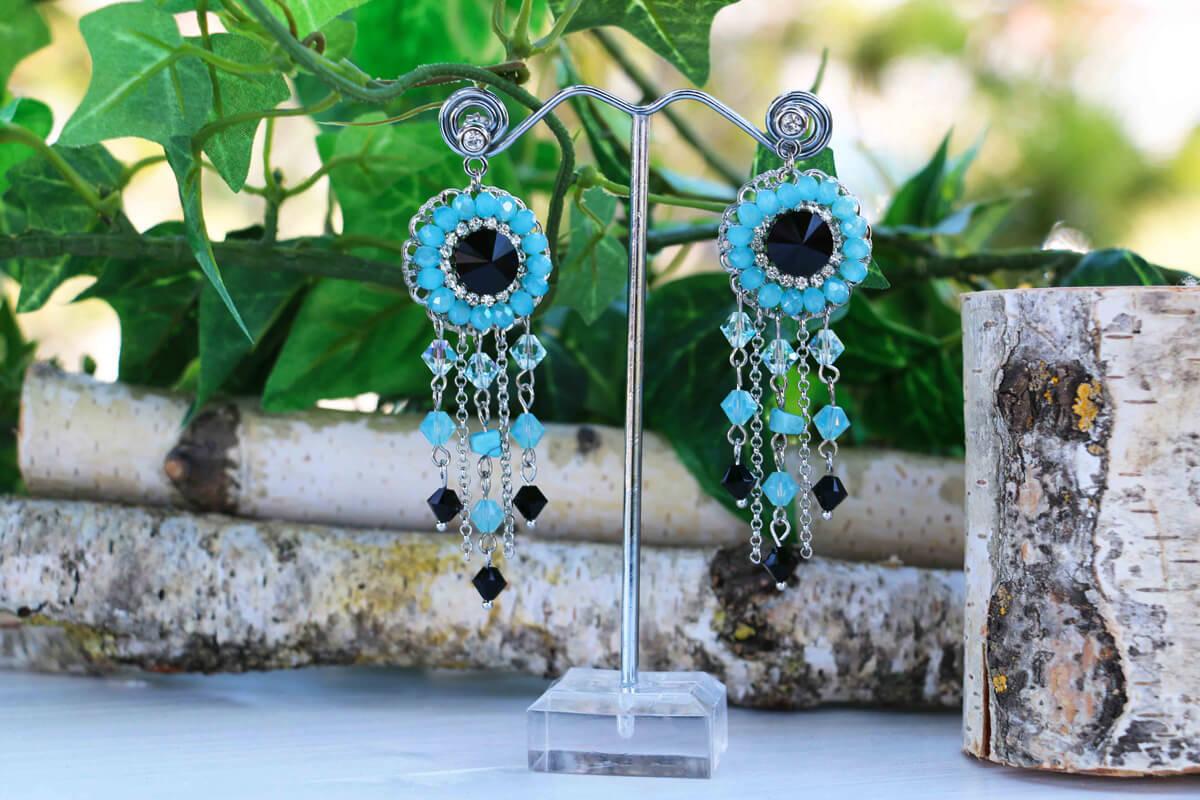 """Orecchini pendenti """"MYKONOS"""" con Cristalli Swarovski colore Nero e Turquoise"""