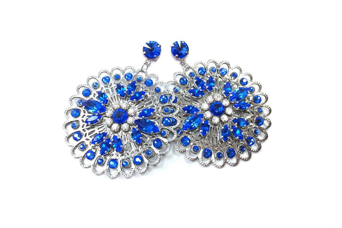 """Orecchini pendenti """"SIVIGLIA"""" con Cristalli Swarovski e Cristalli Preciosa colore Sapphire"""
