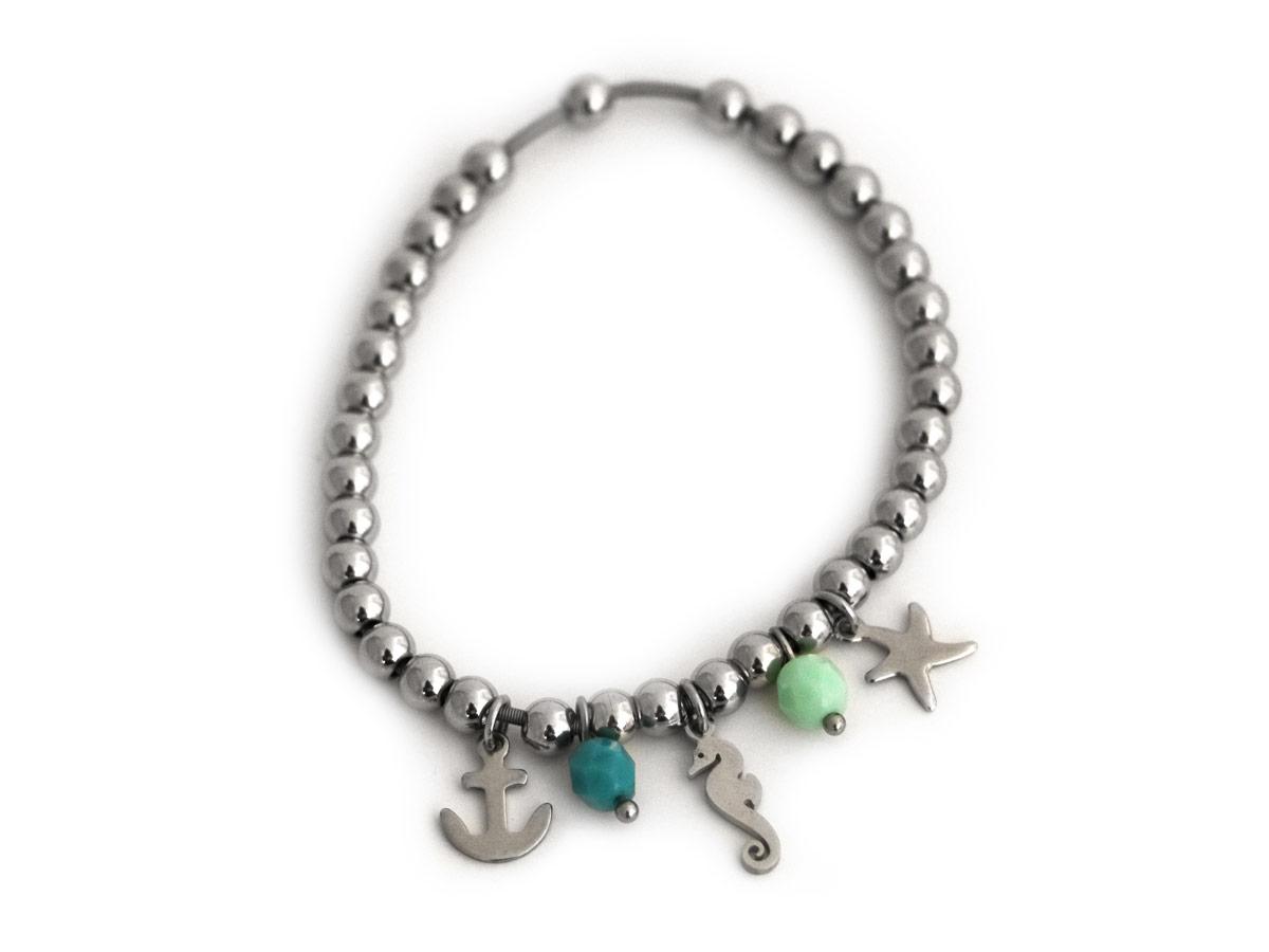 """Bracciale in Acciaio modello """"TIFFANY"""" con ciondoli a Tema mare e Perle mezzo cristallo Verde acqua"""