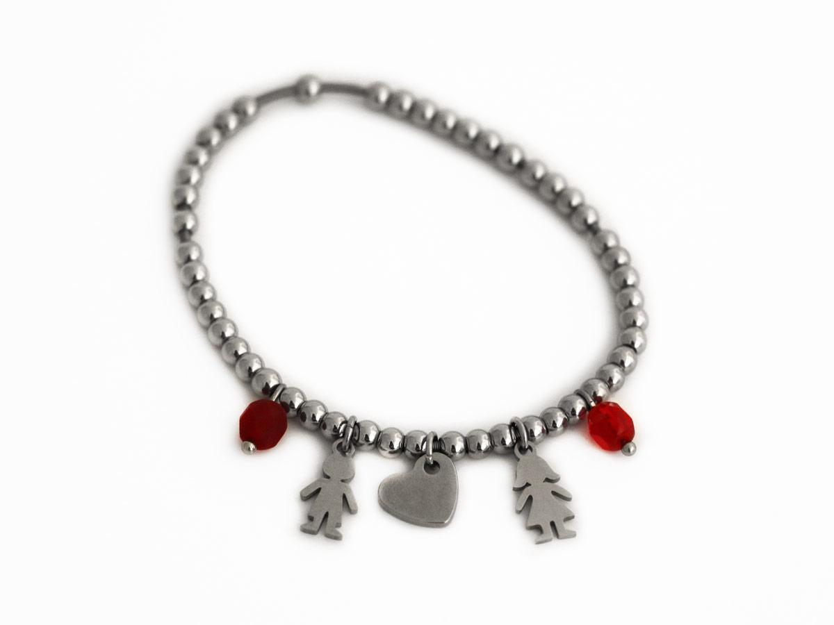 """Bracciale in Acciaio modello """"TIFFANY"""" con ciondoli lui&lei con Perle mezzo cristallo rosso"""