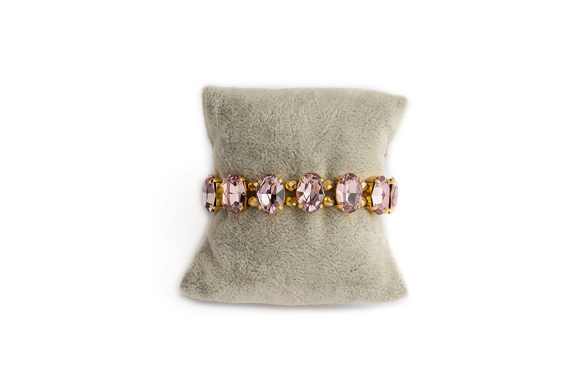 Bracciale Swarovski con Cristalli ovali Light Amethyst e Mezzo cristalli dorati