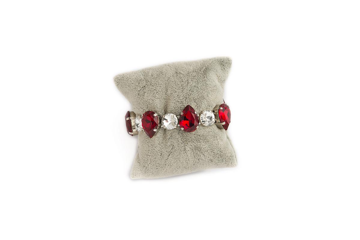 Bracciale Swarovski Crystal con gocce in Vetro colore Rosso