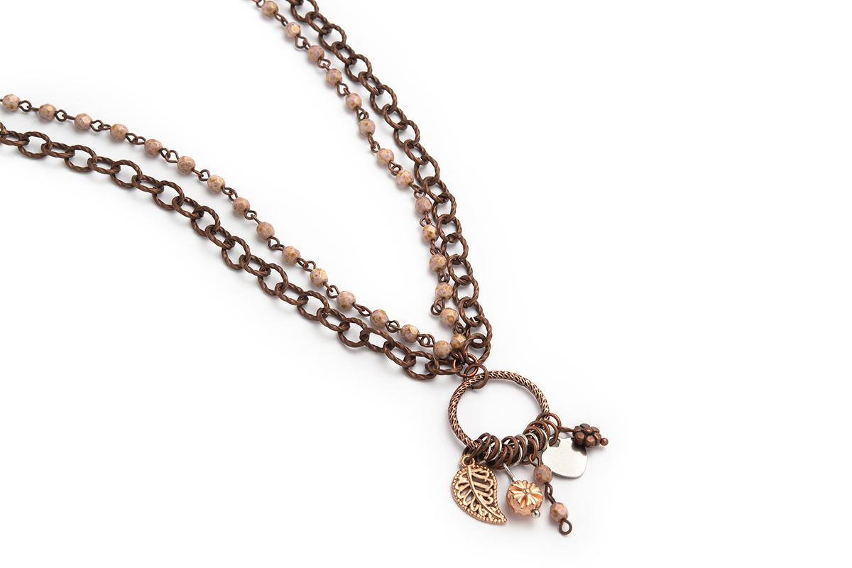 Collana a due fili con Catena rosario Rosa e Rame con centrale impreziosito da Charms