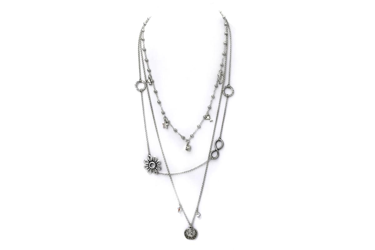 Collana catena Rosario a tre fili con Charms e Pendenti con Cristalli Swarovski colore Nichel