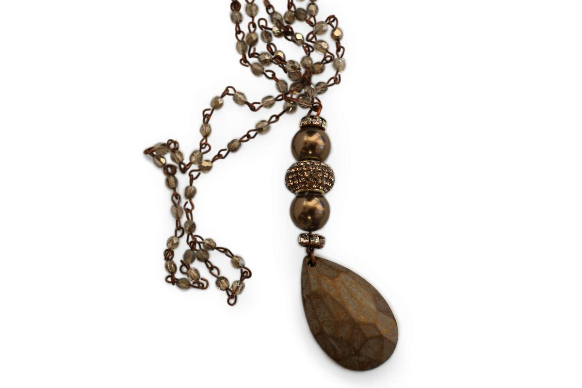 Collana catena Rosario colore Black Diamond e Pendente Perle Plexi, Rondelle Srass e Goccia Plexi