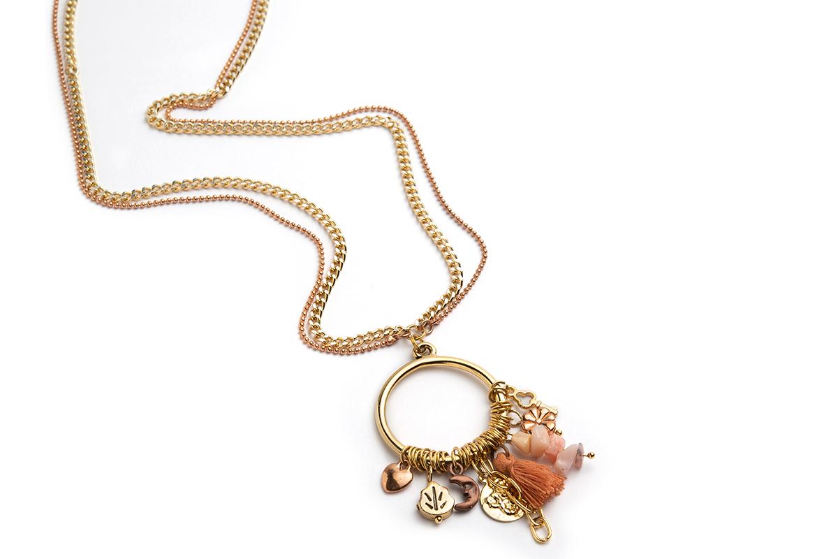 """Collana """"CIRCLE GOLD"""" con Centrale impreziosito da Charms Oro rosa e Oro"""