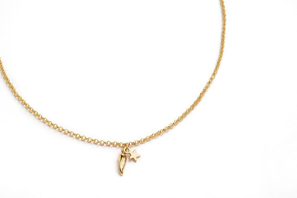 """Collana """"EVERYDAY"""" Oro con Charms cornetto e stella"""