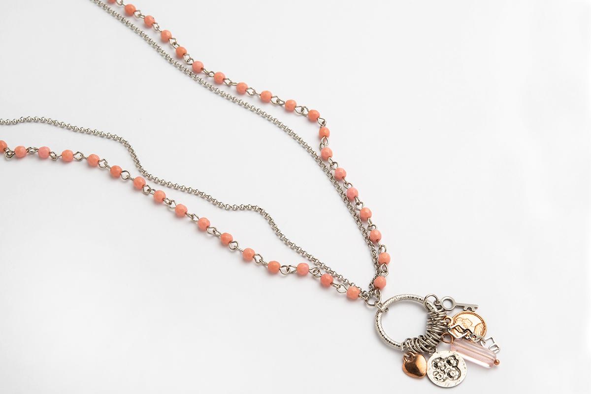 Collana lunga Catena rosario Rosa e rolò con centrale impreziosito da Charms