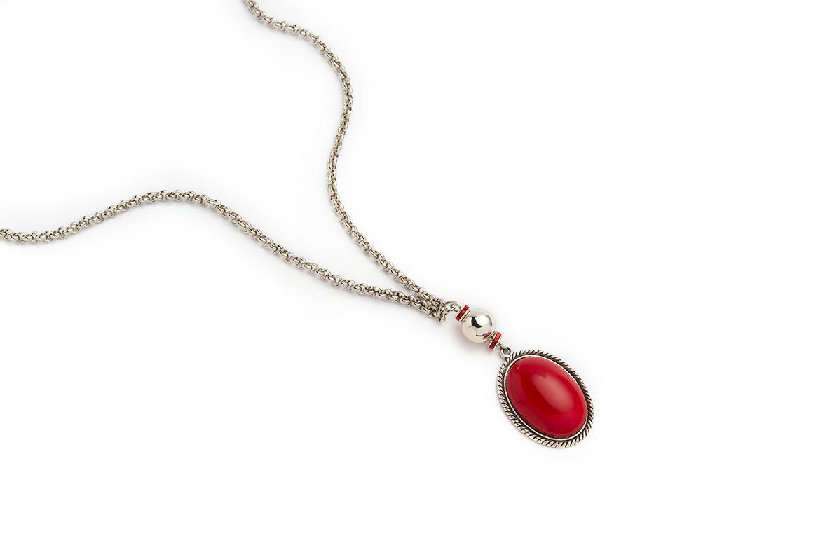 Collana lunga colore Nichel con Cabochon Rosso, Rondelle strass e sfera