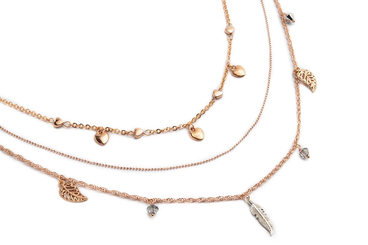 """Collana """"PENELOPE"""" a tre fili colore Oro rosa con Charms e Cristalli Swarovski"""