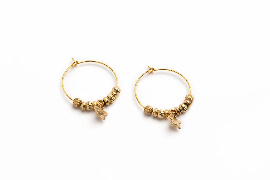 """Orecchini """"CIRCLE"""" colore Oro con Stellina e Charms"""