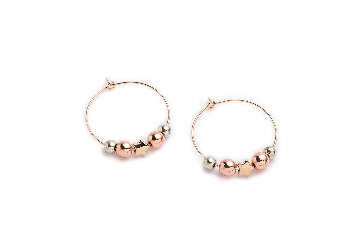 """Orecchini """"CIRCLE"""" colore Oro rosa con Perle Hematite e divisore Stella"""
