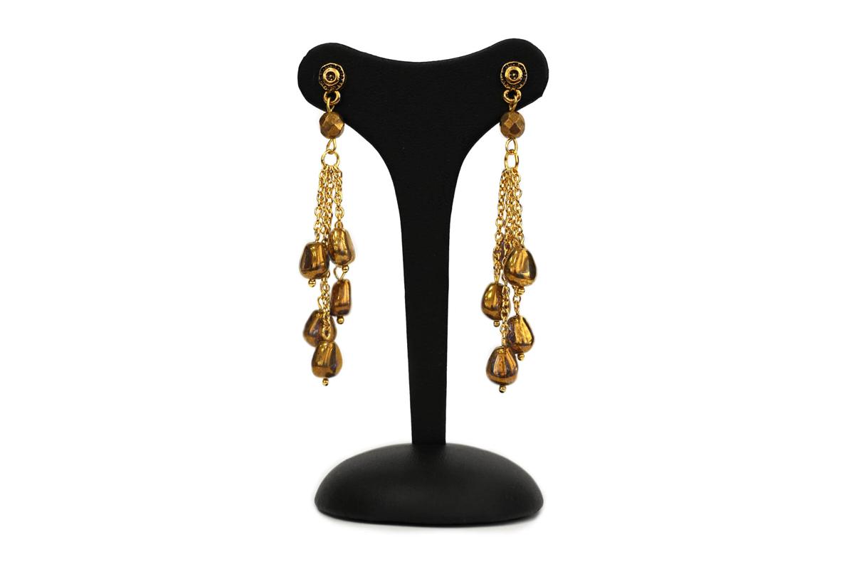 """Orecchini pendenti """"GIOIELLO"""" con catena Rolò colore Oro e Perle in Vetro colore Oro Brunito"""