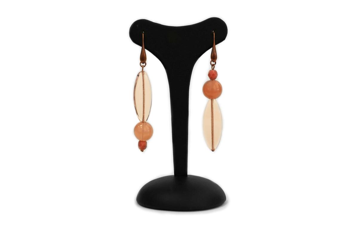"""Orecchini pendenti  """"GIOIELLO"""" con Perle Plexi e Mezzo Cristallo colore Rosa"""