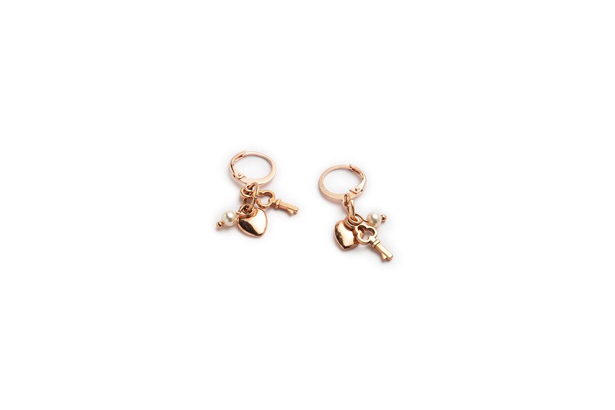 """Orecchini """"TRIS"""" cerchio in Acciaio colore Oro rosa con Charms e Perla Swarovski"""