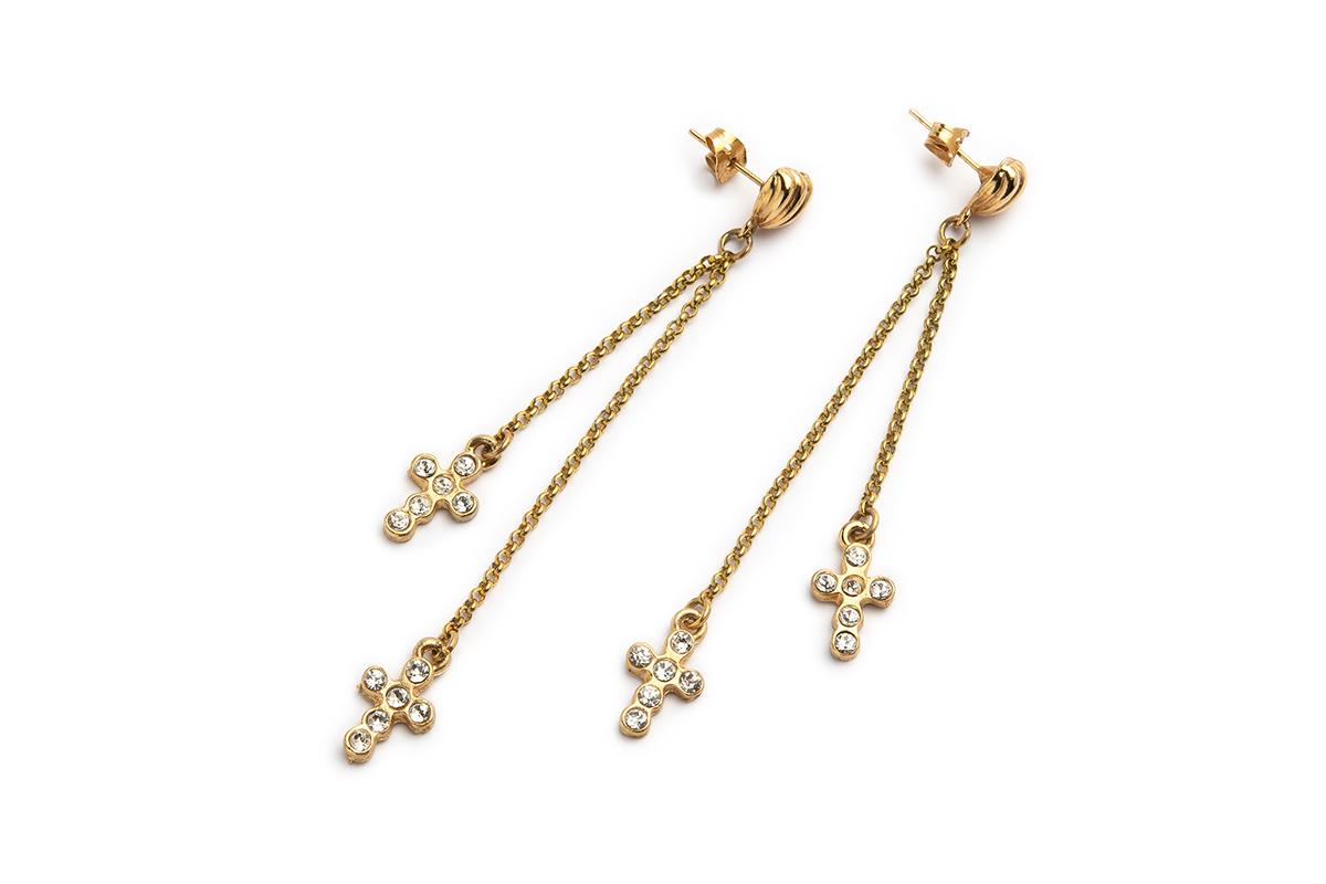 """Orecchini """"CROCI"""" con catena oro e Croci pendenti con strass"""